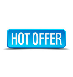 Hot offer blue 3d realistic square isolated button vector
