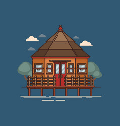 House standing or floating on water vector
