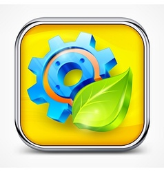 Icon with gear and leaf vector image