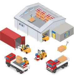 Isometric warehouse industrial scene vector