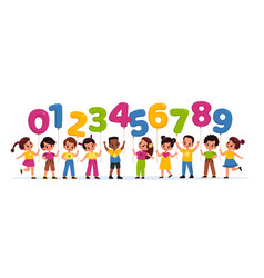 kids with balloons numbers happy children hold vector image