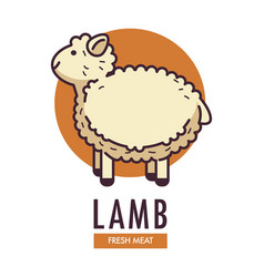 Lamb fresh meat promotional emblem with fluffy vector