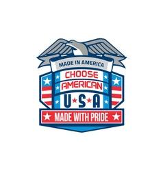 Made in america patriotic shield retro vector
