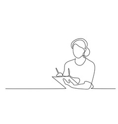 man looking for ideas in notebook line drawing vector image