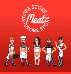Meat store concept vector