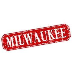 Milwaukee red square grunge retro style sign vector