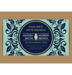 Navy blue wedding invitation vector