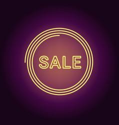 neon banner of yellow sale badge vector image