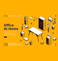 office at home workplace isometric landing page vector image