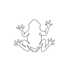 one continuous line drawing funny frog for vector image