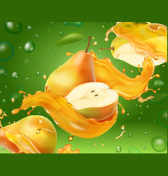 Pear juice with yellow juice splash on green vector