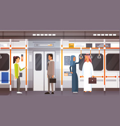People passangers in subway car modern city public vector