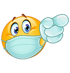 pointing forward emoticon with medical mask and vector image