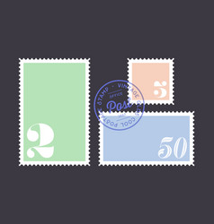 postage stamp set postage stamp collection vector image