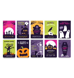 posters for halloween party horror movie night vector image