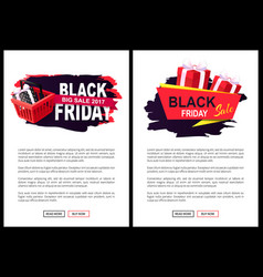 price tag on black friday sale with shopping cart vector image