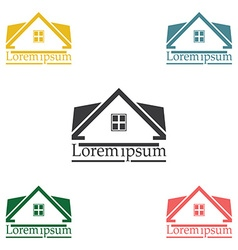 Real Estate raster logo design template color set vector image