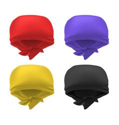 Realistic 3d detailed color blank bandana set vector