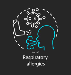 Respiratory allergies chalk concept icon airborne vector