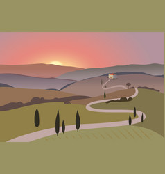 Rural landscape with mountains and hills sunset vector