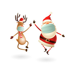 santa claus and reindeer with antivirus masks vector image