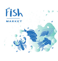seafood collection set vector image