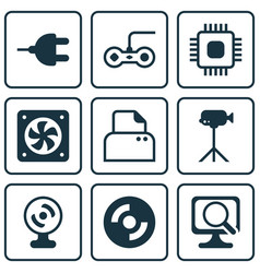 Set of 9 computer hardware icons includes laptop vector