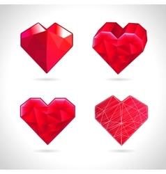 set of crystallized red hearts vector image