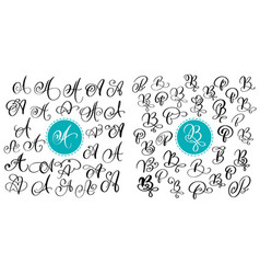 Set of hand drawn calligraphy letter a and vector