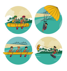 set of water sports cartoons vector image