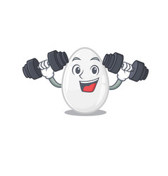 Sporty fitness exercise white egg mascot design vector