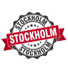 Stockholm round ribbon seal vector