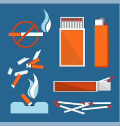 stop smoking banner isolated on blue background vector image