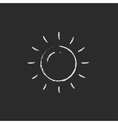 Sun icon drawn in chalk vector image