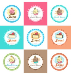 Sweet bakery badge label and logo vector image