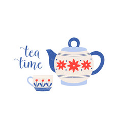 tea cup and teapot porcelain vector image