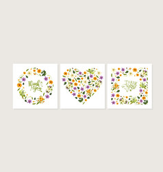 thank you card template with floral pattern of vector image
