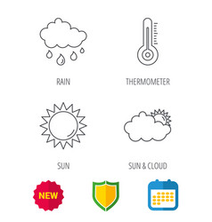 Thermometer sun and rain icons vector