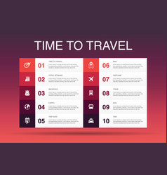 Time to travel infographic 10 option template vector