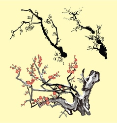 Tree branch oriental ink painting vector