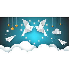 two loving pigeons in the sky valentine s day vector image
