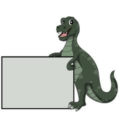 Tyrannosaurus rex holding blank sign vector