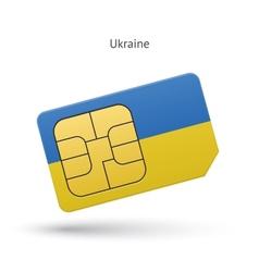 Ukraine mobile phone sim card with flag vector