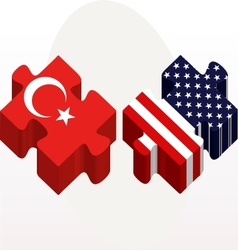 USA and Turkish Flags in puzzle isolated on white vector