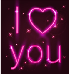 Valentine card with pink neon sign vector