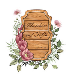 wedding floral invite wooden plate vintage vector image