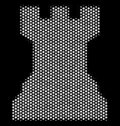 White halftone chess tower icon vector