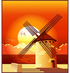 Windmill at sunset vector image