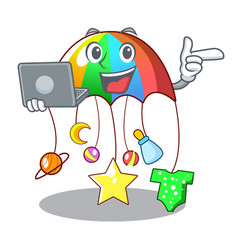 With laptop character hanging toy attached to cot vector