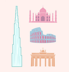 World famous sights travel pastel stickers set vector